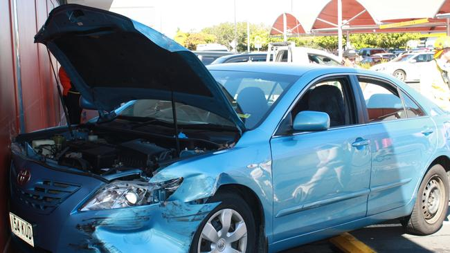 Not fatal ... The elderly driver of this car was left red-faced after crashing into an Aldi store. Picture: Supplied.
