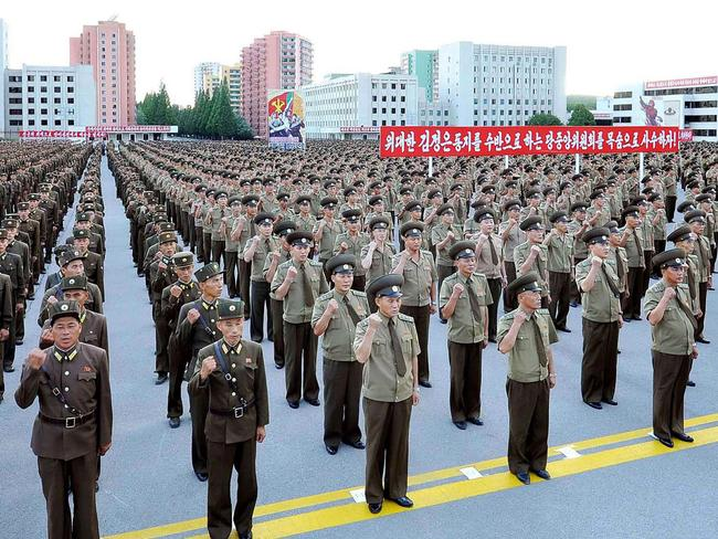 Service personnel of the Ministry of People's Security at a Pyongyang rally on Thursday supporting North Korea's stance against the US. Picture: AFP/KCNA