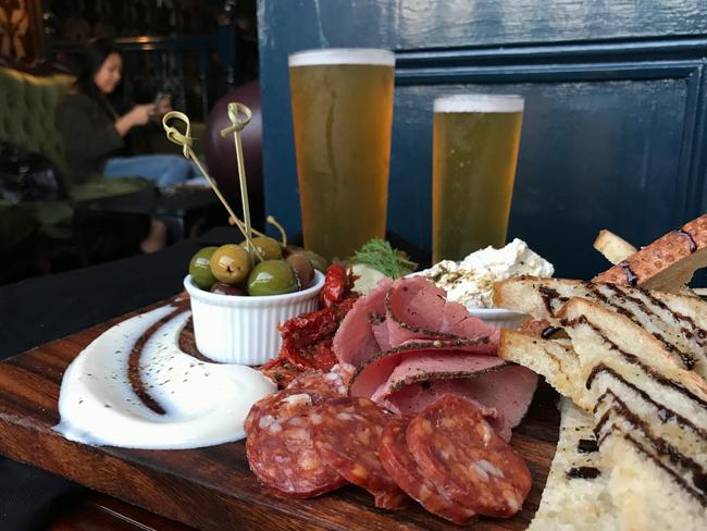 The charcuterie board with beer at the Temperance Society. Picture: Jenifer Jagielski