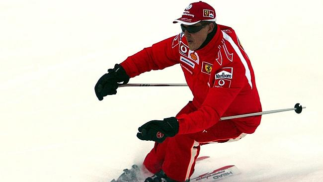 A file photo shows Michael Schumacher skiing in the Italian Alps in 2006. Schumacher is in a critical condition after hitting his head in a fall while skiing.