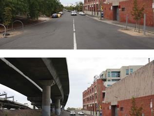 Before and after images of the impact of the East West Link on Bent St, Kensington