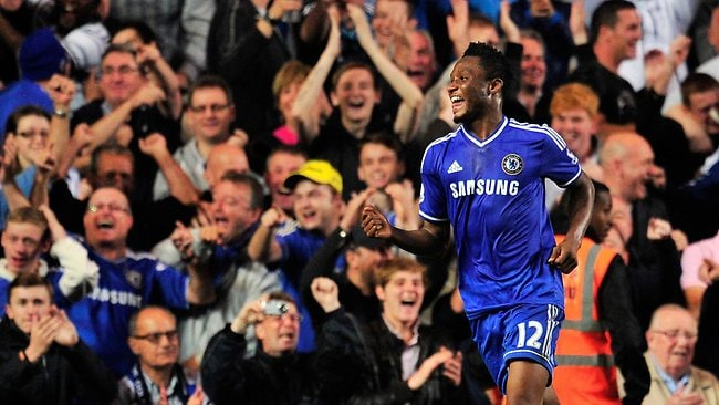 Chelsea's Nigerian midfielder John Mikel Obi celebrates after scoring his team's second goal during the English Premier League football match between Chelsea and Fulham at Stamford Bridge in London on September 21, 2013. Chelsea won 2-0. AFP PHOTO / GLYN KIRK RESTRICTED TO EDITORIAL USE. No use with unauthorized audio, video, data, fixture lists, club/league logos or live services. Online in-match use limited to 45 images, no video emulation. No use in betting, games or single club/league/player publications.
