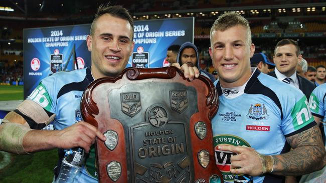 NSW's Josh Reynolds and Trent Hodkinson with the Origin shield.