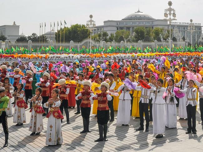Performances in central Ashgabat on October 27 to mark the 26th anniversary of Turkmenistan's independence. Picture: AFP/Igor Sasin
