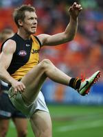 On target ... Jack Riewoldt kicks for goal. Picture: Phil Hillyard