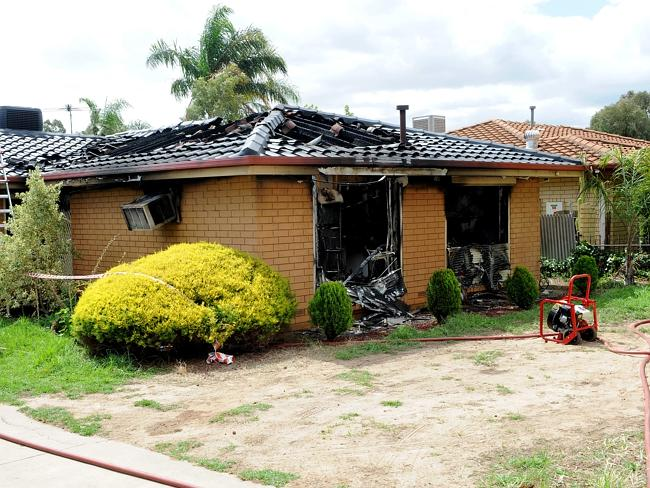 26/2/14. House fire - 225 Whites Road, Paralowie. Pic Keryn Stevens