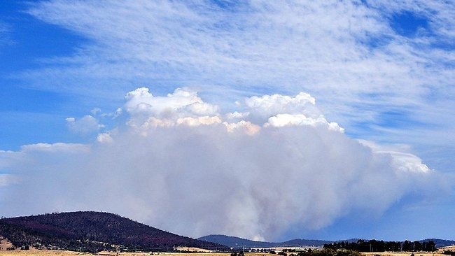 Smoke from a fire at Forcett, Tasmania. Photo: Twitter, @SussanSays