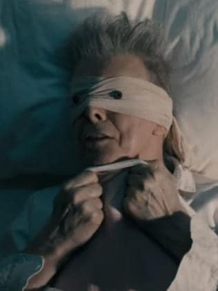 Private pain ... David Bowie revealed his 18 months of anguish in his poignant video clip for Lazarus. Picture: Supplied