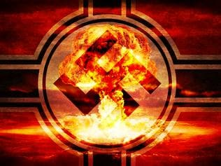 artwork showing swastika imposed on a nuclear explosion