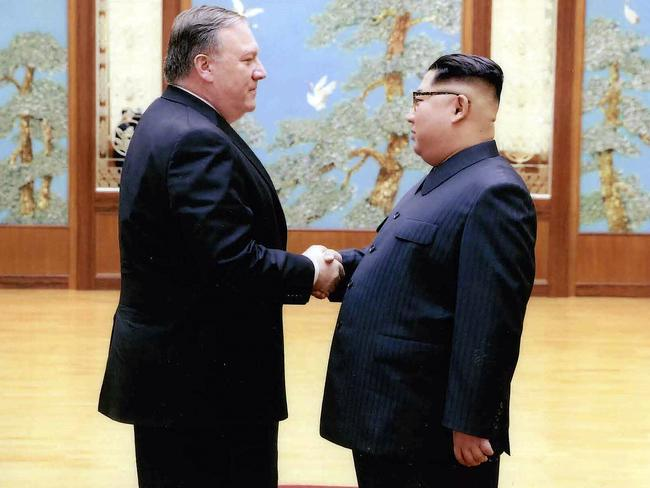 Mr Pompeo and Kim met for more than an hour in a meeting Washington said was a huge success. Picture: The White House/AP