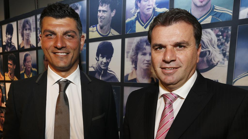 John Aloisi (L) wants an Australian coach to replace Ange Postecoglou as the head coach of the Socceroos. Picture: David Caird
