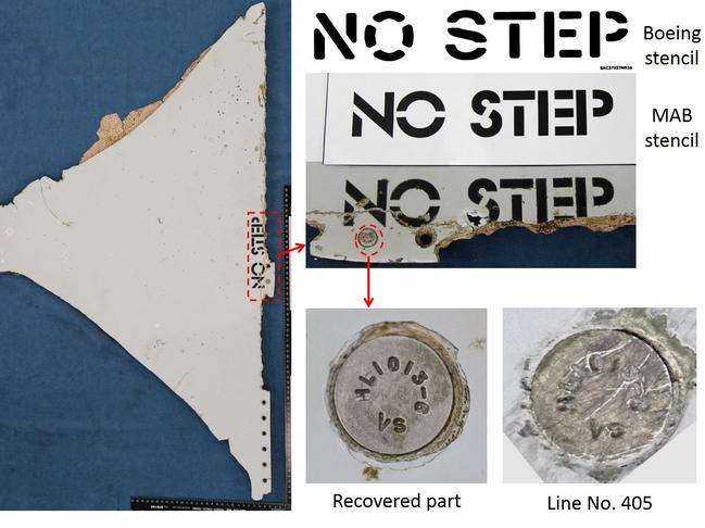 Analysis of a section of horizontal stabiliser found in Mozambique shows the words No Step that were stencilled on by Malaysia Airlines. Picture: ATSB