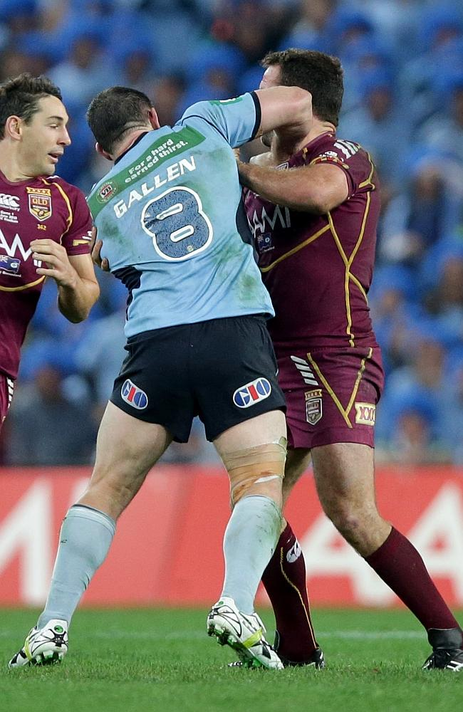 Paul Gallen and Nate Myles fight during State of Origin Game 1 last year.