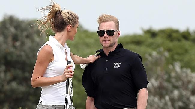 Woops, did I hit a better shot than you? Sorry. Have fun in the bunker babe, I'll see you on the green OK? Photo: Splash News