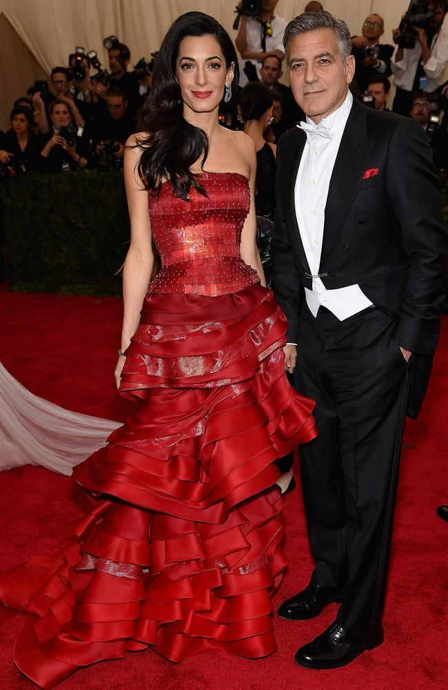 George and Amal Clooney at the Costume Institute Benefit Gala at the Metropolitan Museum of Art on May 4, 2015 in New York City. (Photo by Dimitrios Kambouris/Getty Images)