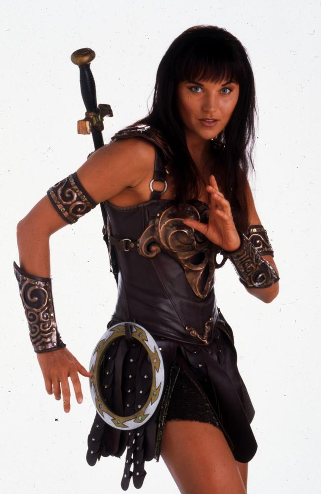 Lucy Lawless as  <i>Xena: Warrior Princess.</i>