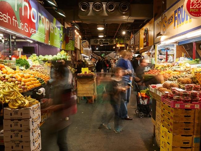 ***EMBARGOED SPEAK TO PIC DESK*** People moving through Central Market on a Friday night in Adelaide, Friday, July 21, 2017. (AAP Image/MATT LOXTON)