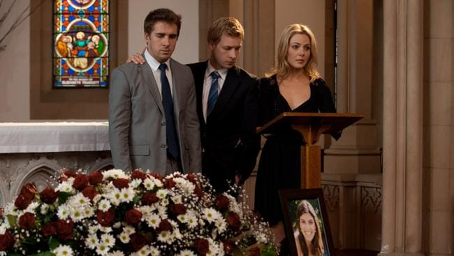 Packed to the Rafters: Melissa?s funeral. From left, Hugh Sheridan, Angus McLaren and Jessica Marais. Picture: Channel 7