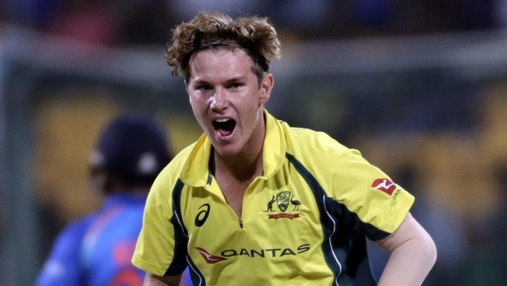Australia cricket player Adam Zampa celebrates Indian batsman Hardik Pandya's wicket.
