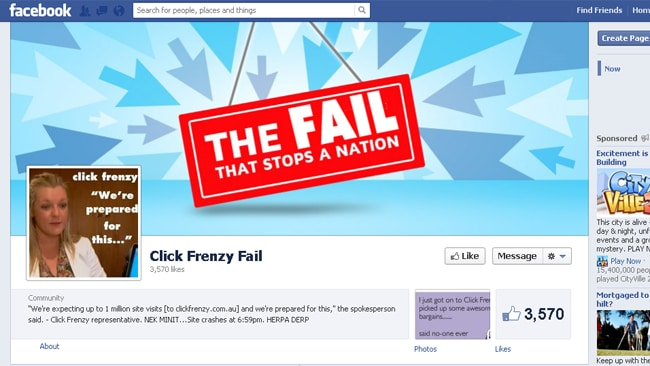 This Facebook page is one of many that have popped up following the failed launch last night of Click Frenzy.