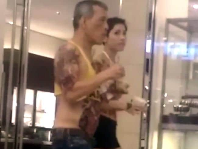 Thailand's King Maha Vajiralongkorn allegedly pictured walking around a shopping centre in video that's surfaced on social media.