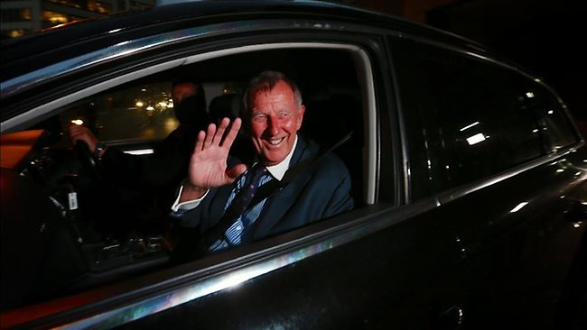 John Singleton leaves the inquiry last night. Picture: Jane Dempster