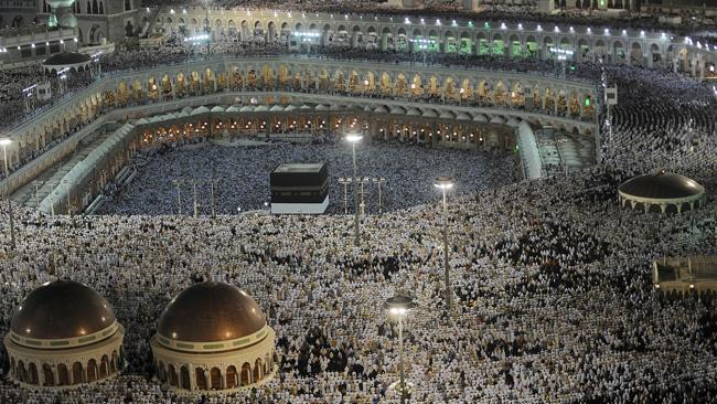 Muslim pilgrims participating in the Hajj in Mecca ... the 2012 event drew more than 3 mi