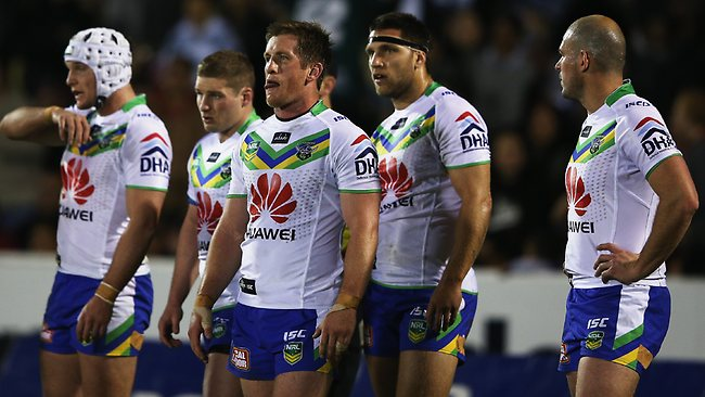 The Raiders looks on after allowing a try in the round 25 NRL match against the Warriors. Picture: Hannah Johnston