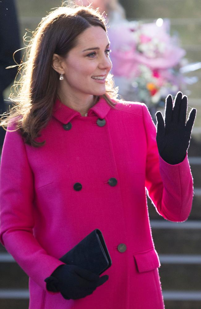 Pink lady Catherine, the Duchess of Cambridge, during a visit to Coventry Cathedral. Picture: AFP