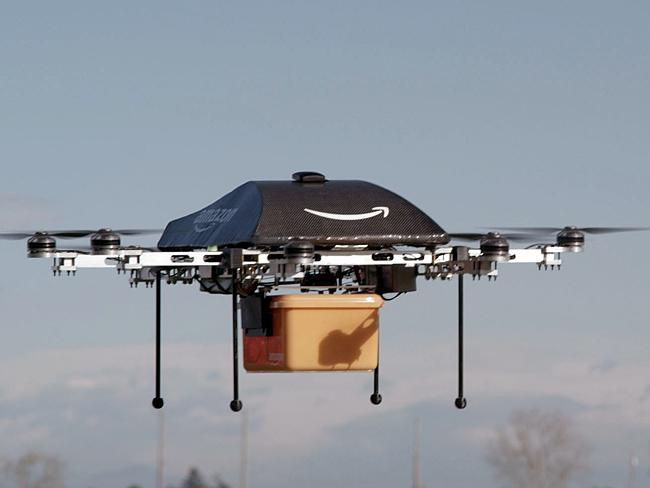 The annual letter also outlined plans for drone delivery. Pictured, the Prime Air drone t