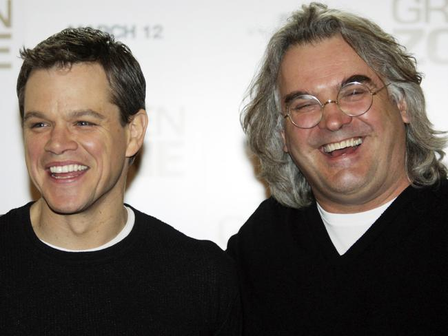 Together again ... Matt Damon, left, and forthcoming Bourne film director Paul Greengrass, together in 2010. Picture: AP Photo/Lefteris Pitarakis