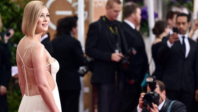 Dramatic back ... actress Rosamund Pike. Picture: AP