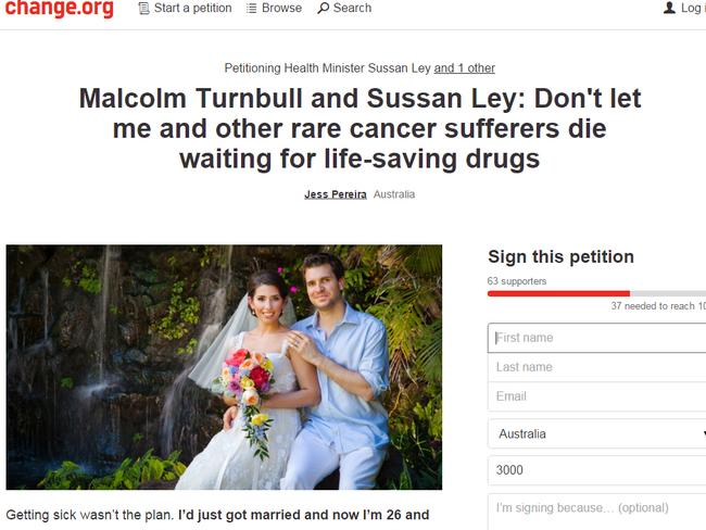 Needing help ... Jess Pereira's online petition to Malcolm Turnbull and Sussan Ley. Picture: Supplied