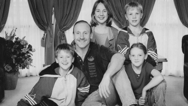 The Ablett family. Gary Ablett St and his children (from left) Gary Jr, then 11, Natasha, 13, Nathan, 10, and Alisha, 8.