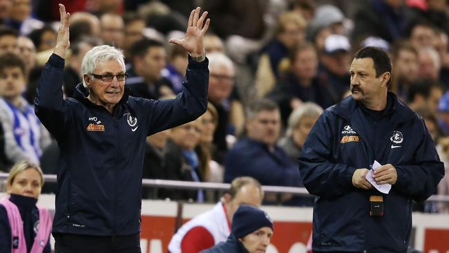 Under fire Carlton coach Mick Malthouse reacts on the sidelines.