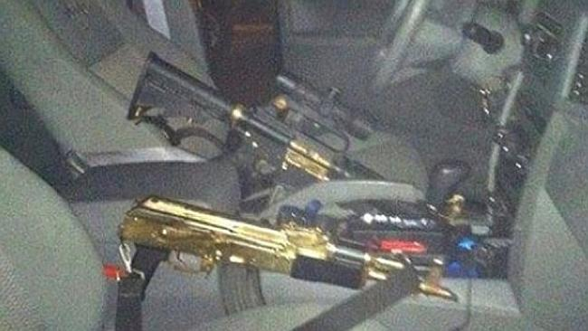 Gold-plated guns are posted on a cartel's Facebook page.