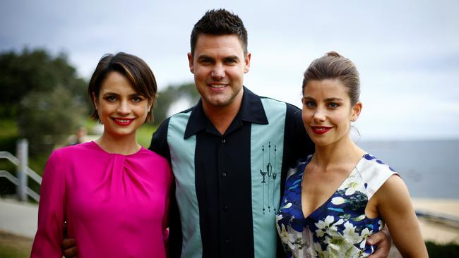 All-star cast ... Ben on set with Wonderland castmates Jessica Toovey and Brooke Satchwell. Picture: Bradley Hunter