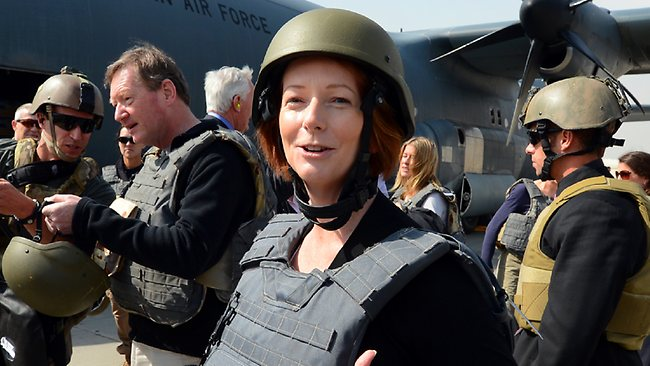 Julia Gillard visit to Afghanistan. Picture: David Caird