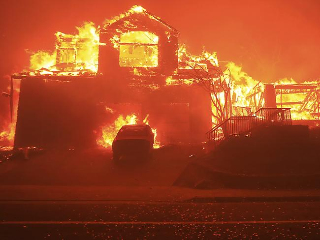 A home burns in Fountaingrove, Santa Rosa. Picture: AP