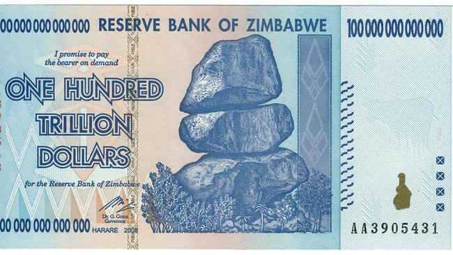 Zimbabwe $100 Trillion. Picture: Wikipedia