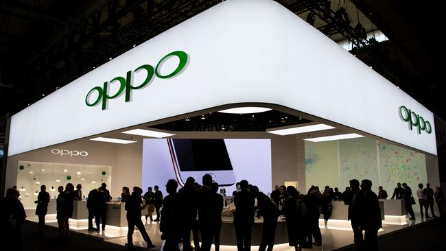 The Oppo stand during the Mobile World Congress in Barcelona, on March 1, 2017 where the company unveiled new camera technology. Picture: Josep Lago