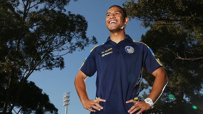 Will Hopoate poses during a Parramatta Eels session today.