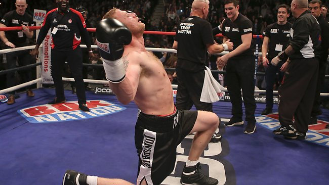 Andrew Flintoff poses as he celebrates his victory over Richard Dawson. Picture: Dave Thompson