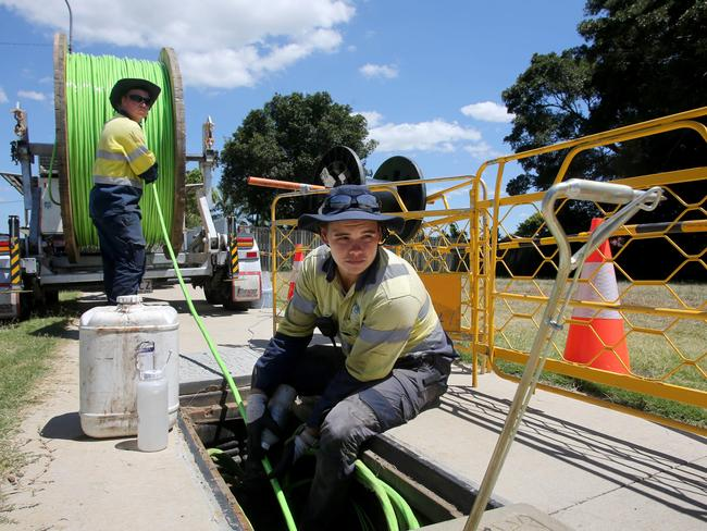Workers are installing the NBN around Australia. Picture: Chris Higgins