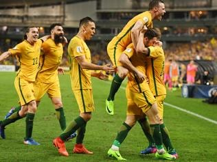 Australia celebrates Mathew Leckie's goal during their World Cup Qualifier match between Australia and United Arab Emirates at the Sydney Football Stadium in Sydney, Tuesday, March 28, 2017. (AAP Image/Dean Lewins) NO ARCHIVING, EDITORIAL USE ONLY