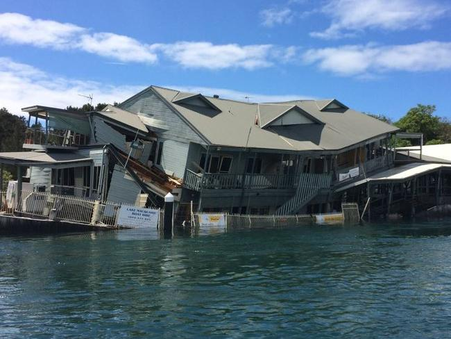 Milano's on The Lake restaurant partially collapsed. Picture: Fire and Rescue NSW