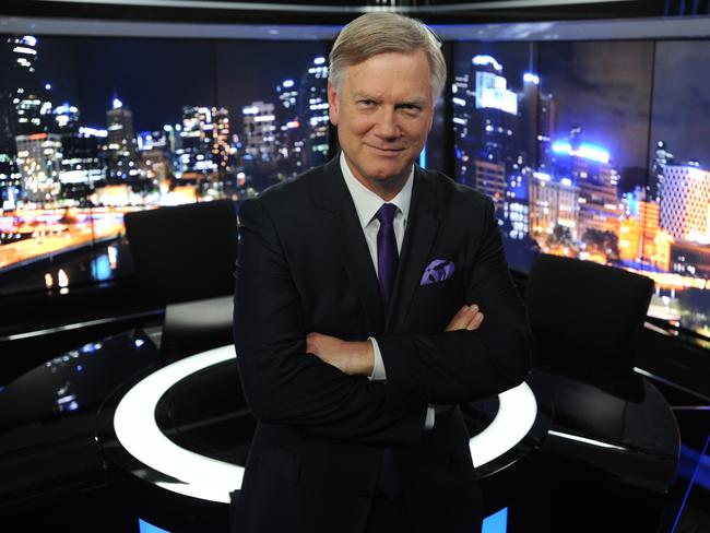 Andrew Bolt on the set of his Sky News show The Bolt Report. Picture: Andrew Henshaw