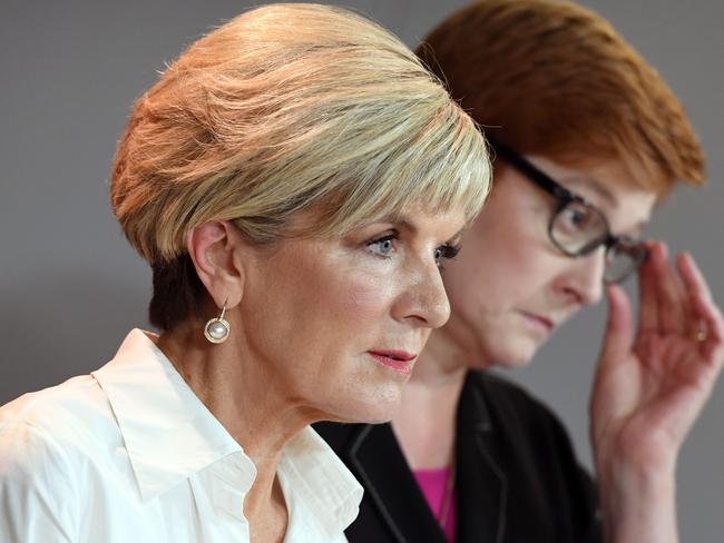 Australia's Foreign Minister Julie Bishop and Defence Minister Marise Payne. Picture: AFP