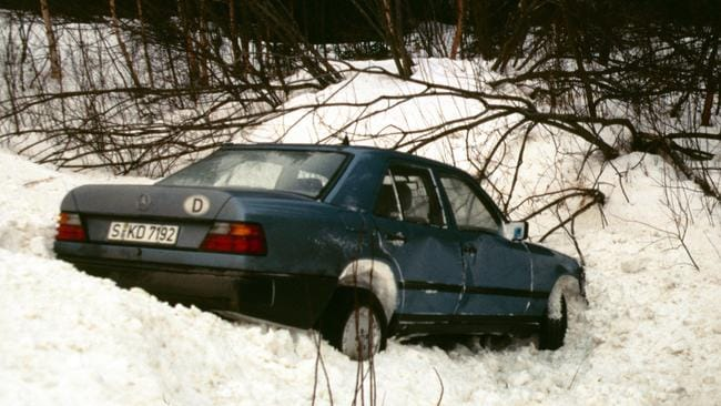 The Mercedes driven by safety engineer Frank Werner-Mohn, retrieved from a ditch near Stromsund Sweden in February 1989. Picture: Frank Werner Mohn.