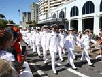 Seamen from HMAS Cairns march past the Cairns RSL during the Anzac Day parade along the Cairns Esplanade. Picture: Brandan Radke
